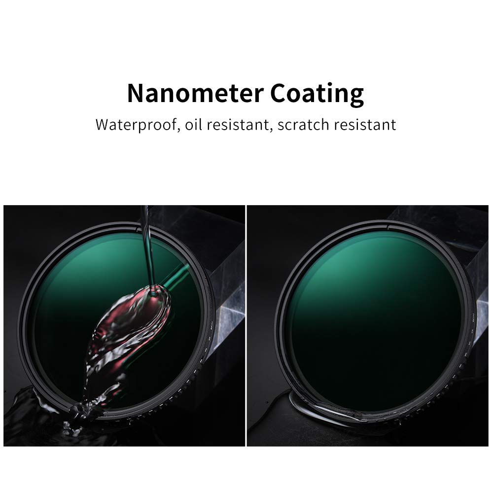 Waterproof K/&F Concept 67mm Variable Neutral Density ND8-ND2000 ND Filter for Camera Lenses with Multi-Resistant Coating