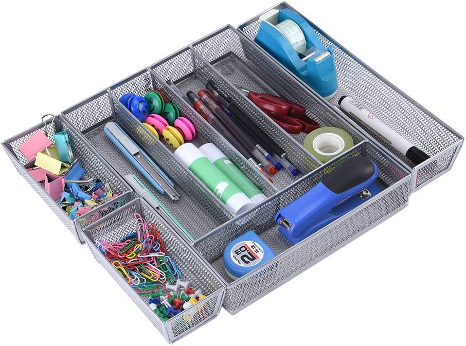 Office Desk Drawer Organizer Tray, 5+3 Compartments Mesh Office Organizers for Desk, Multi-Purpose Storage Drawer Organizer for Bathroom, Office, Kitchen, Bedroom (5+3 Compartments)