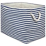 """DII Oversize Woven Paper Storage Basket or Bin, Collapsible & Convenient Home Organization Solution for Office, Bedroom, Closet, Toys, Laundry(Medium - 15x10x12""""), Nautical Blue Pin Stripe"""