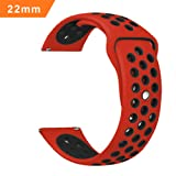 iBazal 22mm Cinturino Silicone pour Samsung Gear S3 Frontier/Classic SM-R760, Moto 360 2nd Gen 46mm, Huawei Watch 2 Classic - Rosso/Nero