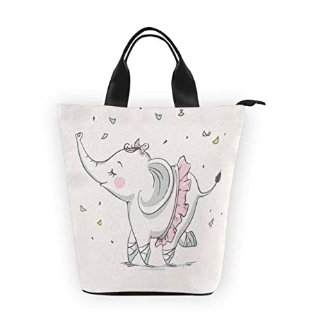 193b99f905da Amazon.com: InterestPrint Nylon Cylinder Lunch Bag Cute Elephant ...
