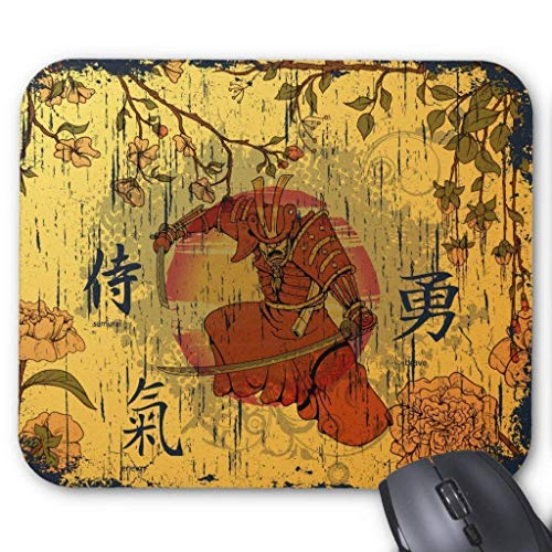 (Samurai Warrior ~ Japanese Kanji Character Mouse Pad 7.08X8.66 inches/18X22 cm,Non-Toxic)