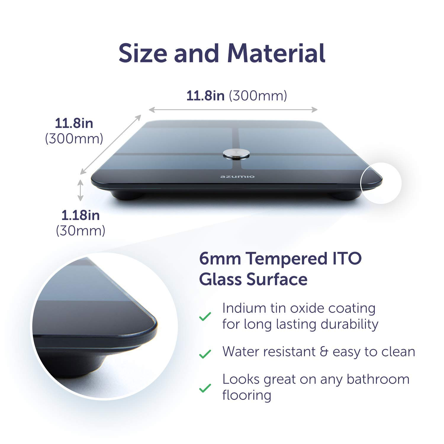 Azumio Bluetooth Digital Smart Scale for Body Weight | 6mm Tempered Glass LED Display Measures Body Fat, Visceral, BMI, BMR, Muscle Mass, Bone Mass Water Weight in KG or LB | iOS & Android Compatible by Azumio (Image #2)