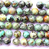 fashiontrenda Natural African Turquoise Round 10mm 6mm 8mm for Necklace Gemstone Loose Beads (8mm)