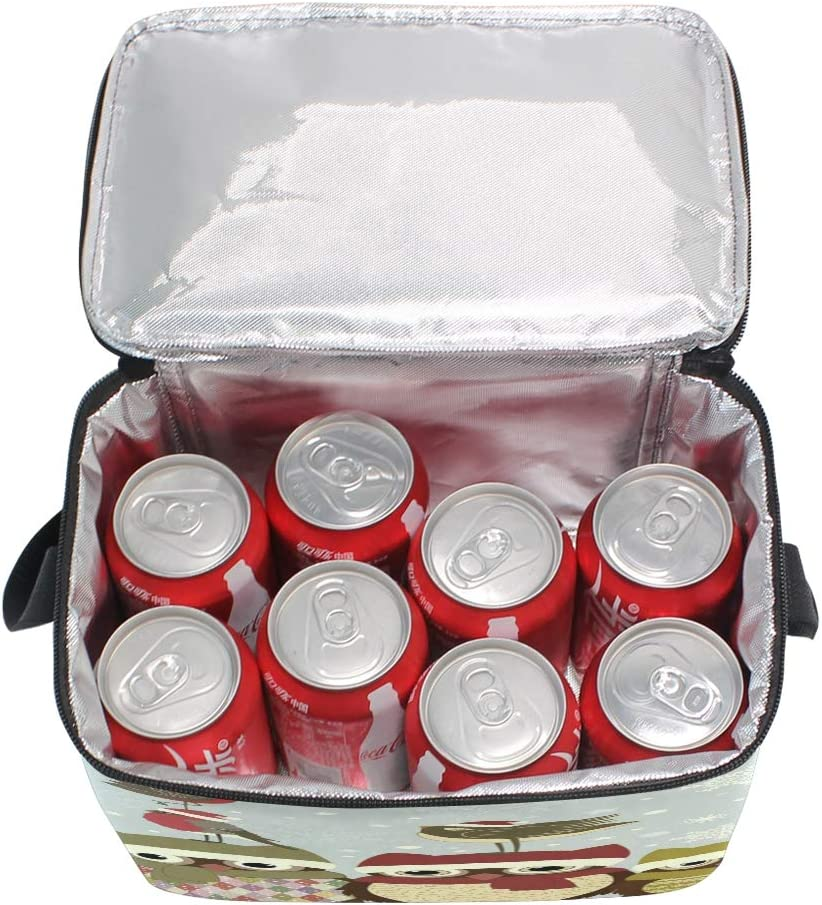 Use7/Hipster Penguin Flocon de Neige de No/ël Chouette Sac /à d/éjeuner Isotherme Sac fourre-Tout Cooler Lunch Box pour Pique-Nique d/école Femme Homme Enfants