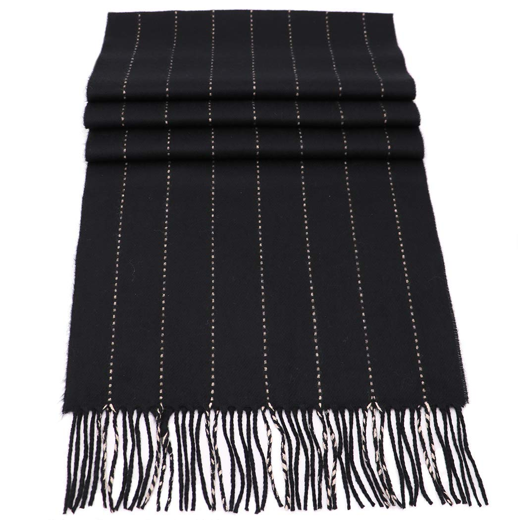 Rosemarie Collections 100% Cashmere Winter Scarf Made In Scotland (Black Pin Stripe) by Rosemarie Collections