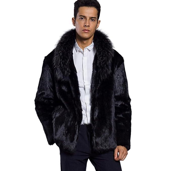 Sannysis - hombre abrigos con capucha pelaje artificial invierno largos chaquetas con cremalleras bolsillo hombre moto