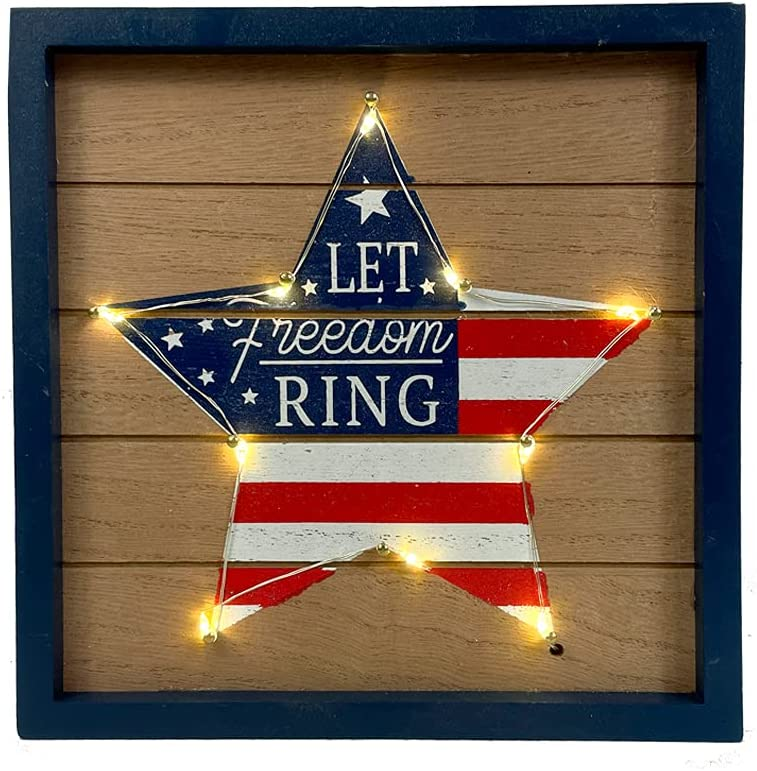 HOMirable Patriotic Stars Décor 4th of July Decor LED Lighted Box Sign American Flag Sign Rustic Wooden Memorial Day Sign Home Farmhouse Block Independence Day Table Decor Gifts