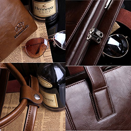 Men's Bag Messenger Bags coffee Sakutane Shoulder Briefcase Leather Satchel Office Handbag Genuine 1gq7A