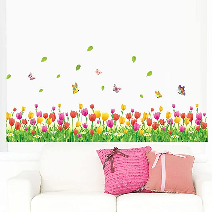 Amaom Removable Beautiful Colorful Tulip Flowers With Butterfly Wall Decals Murals Home Art Decor Peel Stick Wall Stickers For Wall Corner Kids Room Bedroom Living Room Offices Nursery Room Classroom Home Kitchen Amazon Com