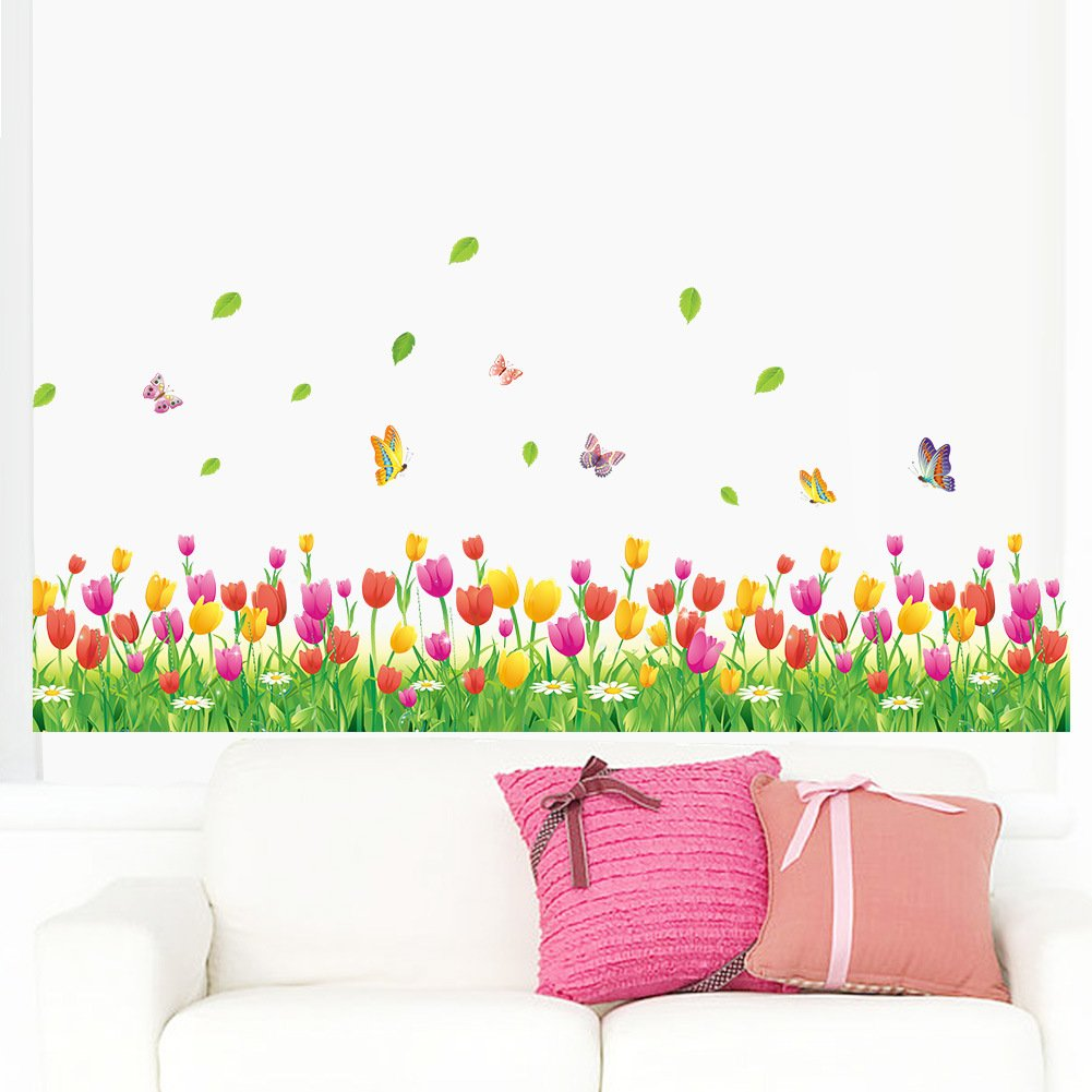 Amaom Removable Beautiful Colorful Tulip Flowers With Butterfly Wall Decals Murals Home art Decor Peel Stick Wall Stickers for Wall Corner Kids room Bedroom Living room Offices Nursery room Classroom