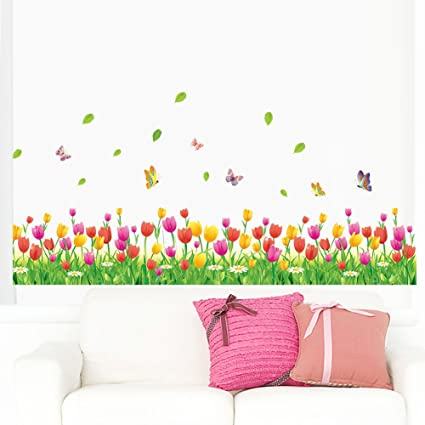 75accf0243 Amaom Removable Beautiful Colorful Tulip Flowers With Butterfly Wall Decals  Murals Home art Decor Peel Stick