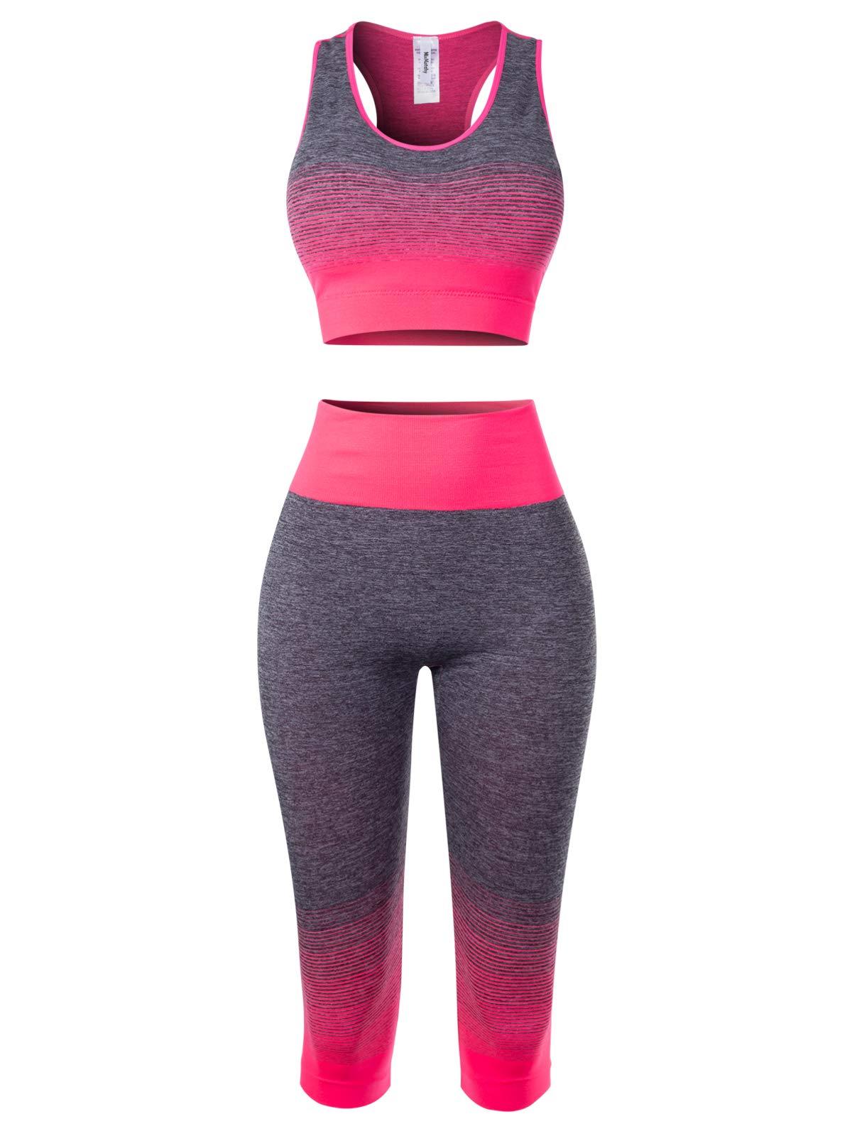 MixMatchy Women's Two-Piece Sports Bra + Capri Leggings Gym Yoga Wear Set Fuchsia ONE by MixMatchy