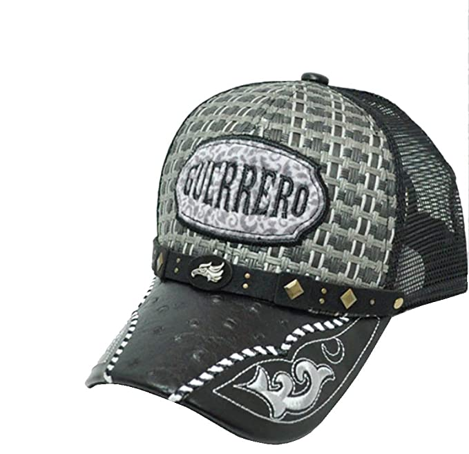 2f882c1c078 Rob sTees Gorra Charra De Guerrero Metal Emblem Woven Mexico Flag Palma Mesh  Straw Trucker Cap Dad Hat (Black) at Amazon Men s Clothing store