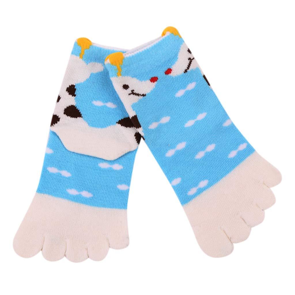 Willsa Toddler Baby Kids Girls Boy Cartoon Animal Five Fingers Anti Slip Cotton Socks