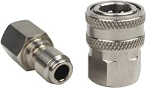WILTEEXS 18709 3/8-Inch Stainless Steel Quick Connect Pressure Washer Adapter Set, Max Pressure 5000 PSI Rating
