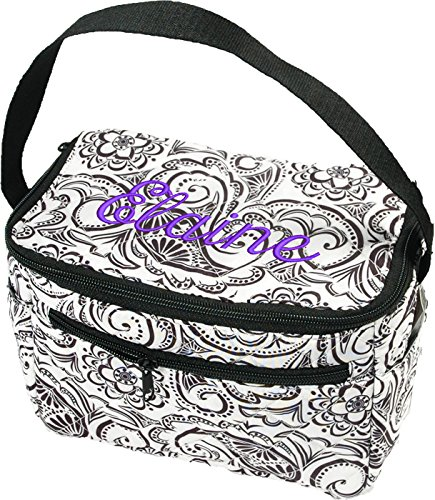 Personalized Quilted Monogram Girls School Lunchbox Lunch Box Bag Tote - Black and White Paisley - By Threadart (Personalized Lunch Box)