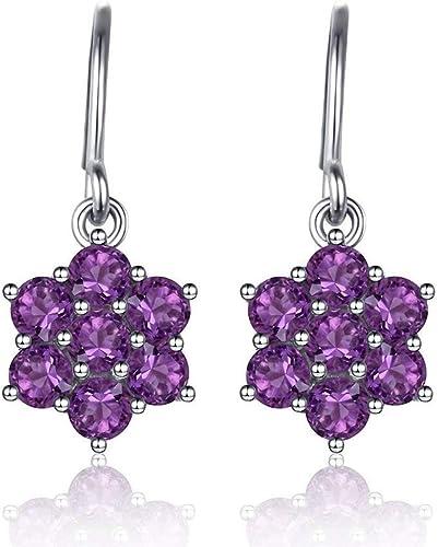 Amatista Púrpura de Moda de joyería para Dama De Oro Blanco Plateado Pendientes pendiente Hoop