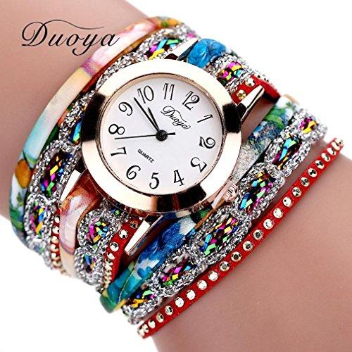 Hunputa 2016 New Watches Women Flower Popular Quartz Watch Luxury Bracelet Women Dress Lady Gift Flower Gemstone Wristwatch (Red)