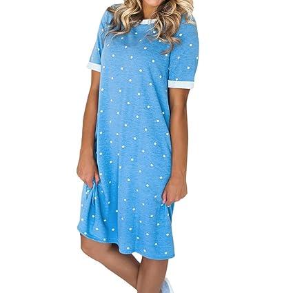350442dfc8f Usstore Women Dresses Novelty Dress Short Sleeve Dot Print Evening Above  Knee Dress for Women (