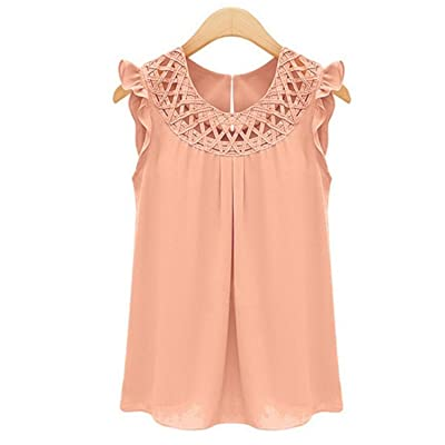 Hello-one New Arrival Women Blouses Chiffon Shirts O-Neck Summer Sleeveless Chemise Femme Vintage Shirt Tops Solid Fashion