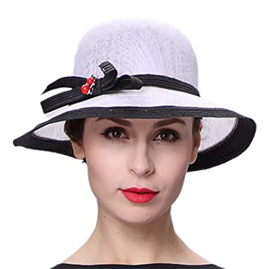 3254eb2dca132 Koola s hats Lady White Black 3 Layers Sinamay Wedding Hats Summer Hat  Ascot Race Derby Hat at Amazon Women s Clothing store