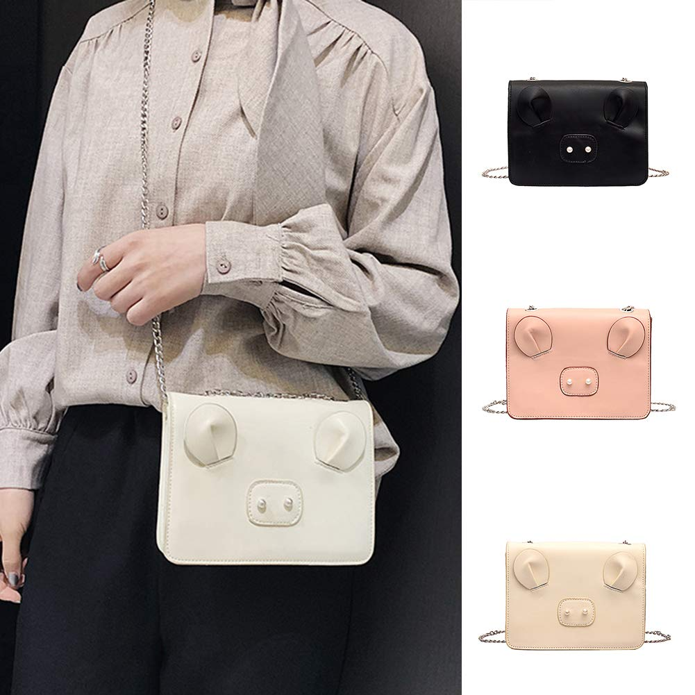 White Faux Pearl Pig Nose Fashion Lady Faux Leather Flap Square Crossbody Shoulder Bag