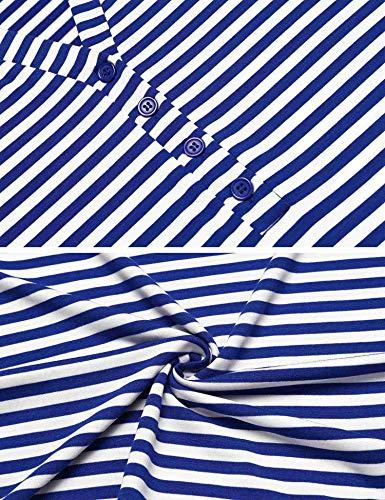 Ekouaer Women's Button up Breastfeeding Nursing Maternity Dress Sleepwear with Pockets (Royal Blue M) by Ekouaer (Image #4)'