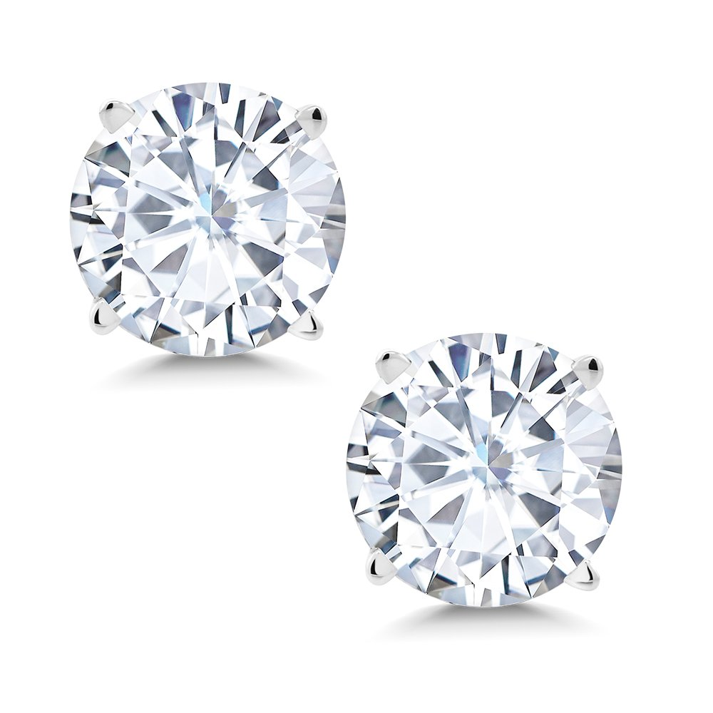 Charles & Colvard Forever Classic 6mm 1.60cttw DEW White Created Moissanite 14K White Gold Friction Back Round 4 Prong Stud Earrings by Gem Stone King