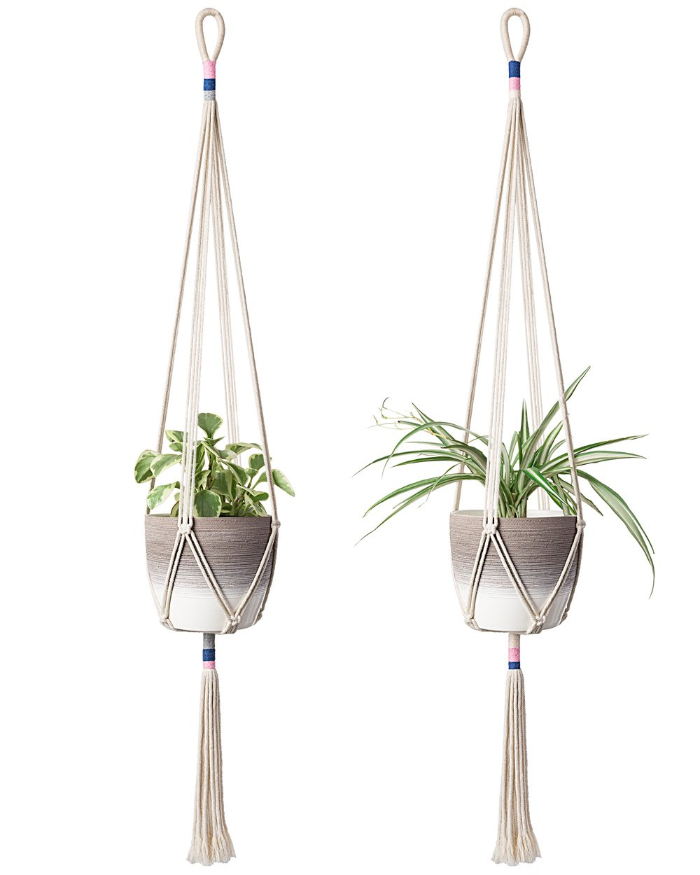 Mkono 2Pcs Macrame Plant Hanger Hanging Planter Color Basket Cotton Rope, 43 Inch