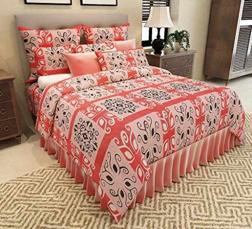 Home Candy Contemporary Designer Premium Cotton Double Bedsheet with 2 Pillow Covers – Red