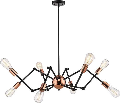 Jazava Industrial Sputnik Chandelier, 8-Lights Modern Pendant Light for Farmhouse, Hanging Light Fixture, Adjustable Swing Arms, Black and Rose Gold Finish