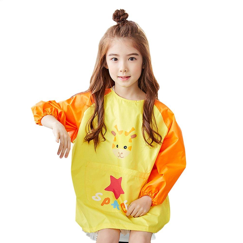 OLizee Long Sleeve Waterproof Art Smock with Front Pocket Cartoon Giraffe Kids Painting Apron Bib for Eating, Yellow L
