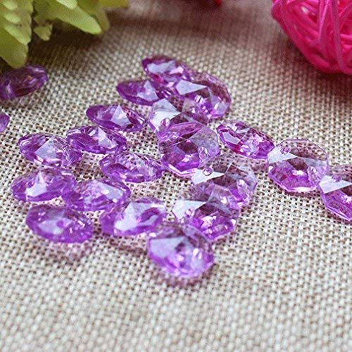 Acrylic Beads Chain,16.4Ft Crystal Rhinestone Beads Chain Pure Octagonal Hanging Beads for Wedding Party Christmas Tree Garlands Chandelier Decorations (Purple)