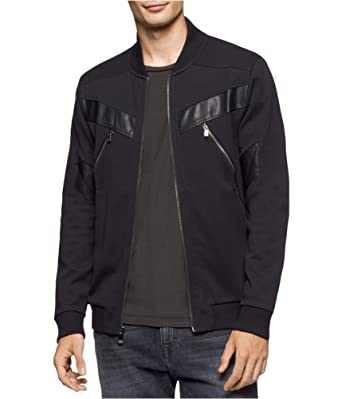 fc2a6cc9 Calvin Klein Mens Mixed Media Bomber Jacket - Black - XX-Large:  Amazon.co.uk: Clothing