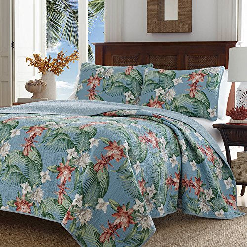 Tommy Bahama Southern Breeze Quilt Set, Full/Queen, Turquoise