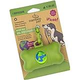 Bamboo Pet Dispensador con Bolsas Compostables y Biodegradables para Desechos de Perro con Gancho para Correa. Color Verde y