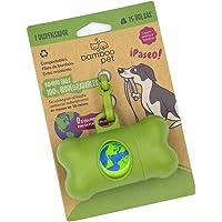 Bamboo Pet Dispensador con Bolsas Compostables y Biodegradables para Desechos de Perro con Gancho para Correa. Color Verde y Gris (Verde)