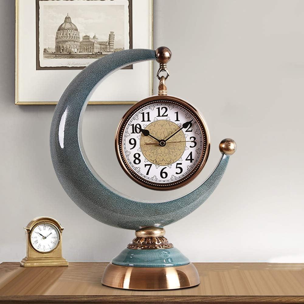 掛け時計 ブロンズメタル装飾リビングルームベッドルームベッドサイドヨーロッパのレトロシアンセラミックミュート非ダニ置時計32x40cm JPYLY