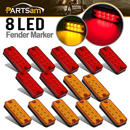 Partsam Rectangle 14x Amber/Red 4