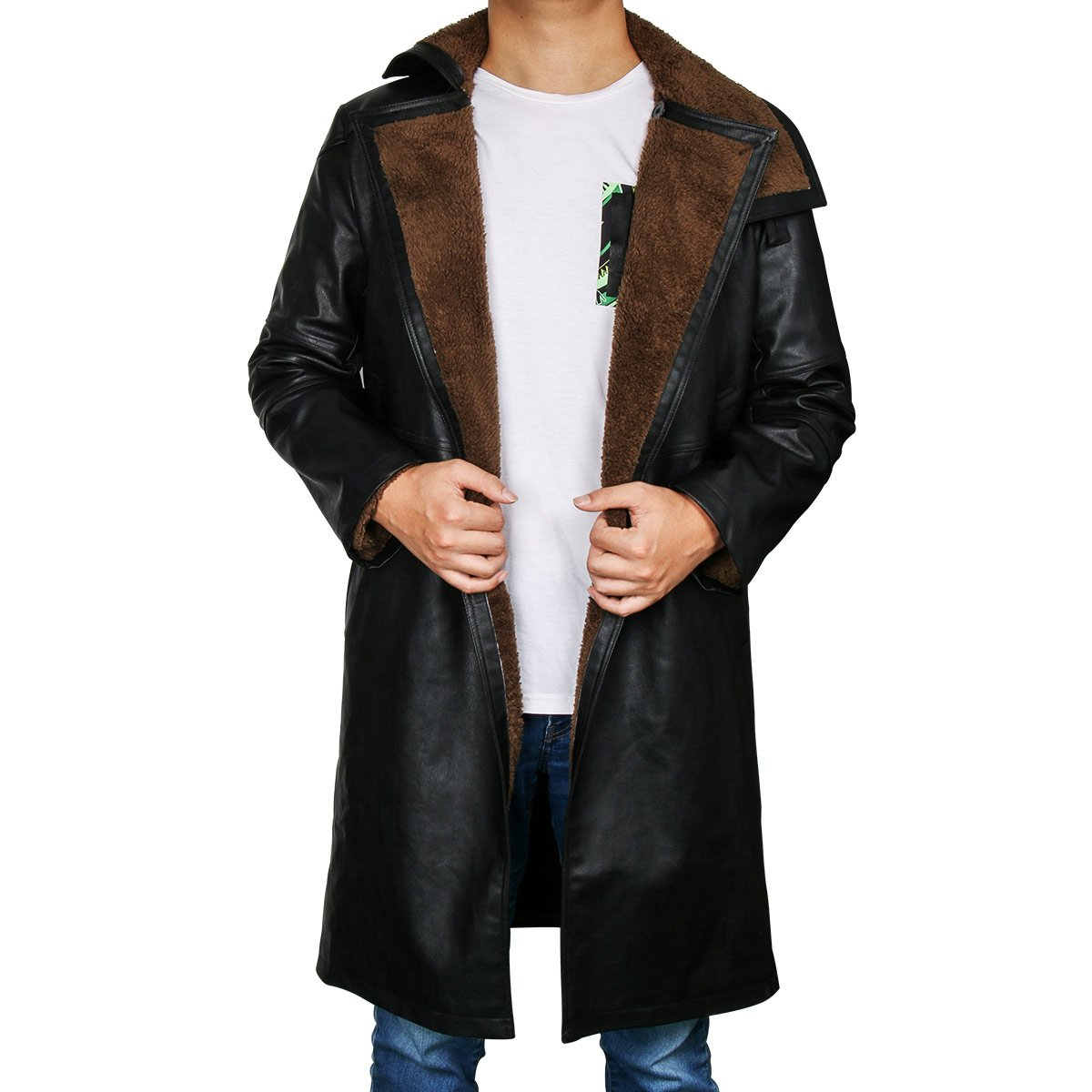 LiuzilaiST Runner 2049 Ryan Gosling Officer K Cosplay Costume Blade Shearling Black Trench Leather Coat Jacket (Large)