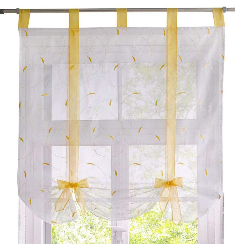 ZebraSmile Adorable Bowknot Tie Up Roman Curtain Lifable Curtain Tab Top Semi Sheer Kitchen Balloon Window Curtain, 24 x 55 Inch, White LMHY06bai60