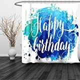 HAIXIA Shower Curtain Birthday Watercolor Greeting Card Inspired Display Text Brushstrokes Queen Full Blue Green White