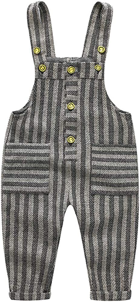 Mornyray Toddlers Boys Girls Knit Stripe Plaid Pattern Overall Suspender Long Pants Size 95 Stripe