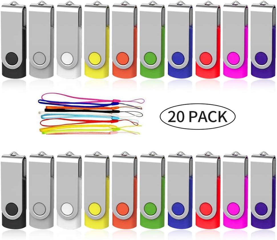 Bulk Flash Drive 4GB 20 Pack, AreTop USB2.0 Swivel Bulk Thumb Drives Memory Stick Pendrive 4GB for Computer Data Storage(20PCS 4GB, Multicolors)