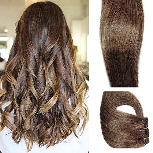 Myfashionhair Clip in Hair Extensions Real Human Hair Extensions 15 inches 70g Medium Brown Clip on for Fine Hair Full Head 7 pieces Silky Straight Weft Remy Hair (15 inches, #6)