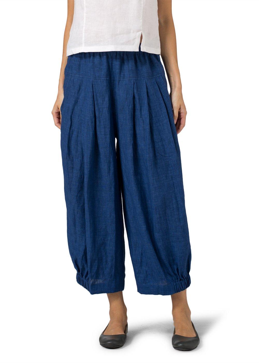 Vivid Linen Crumple Effect Harem Pants (Long)-XL-Denim Blue
