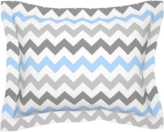 The Pillow Collection Deion Zigzag Bedding Sham Blue White Queen//20 x 30