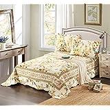 Tache 3 Piece Floral Yellow Summer Rose Reversible Bedspread Quilt Set, Queen