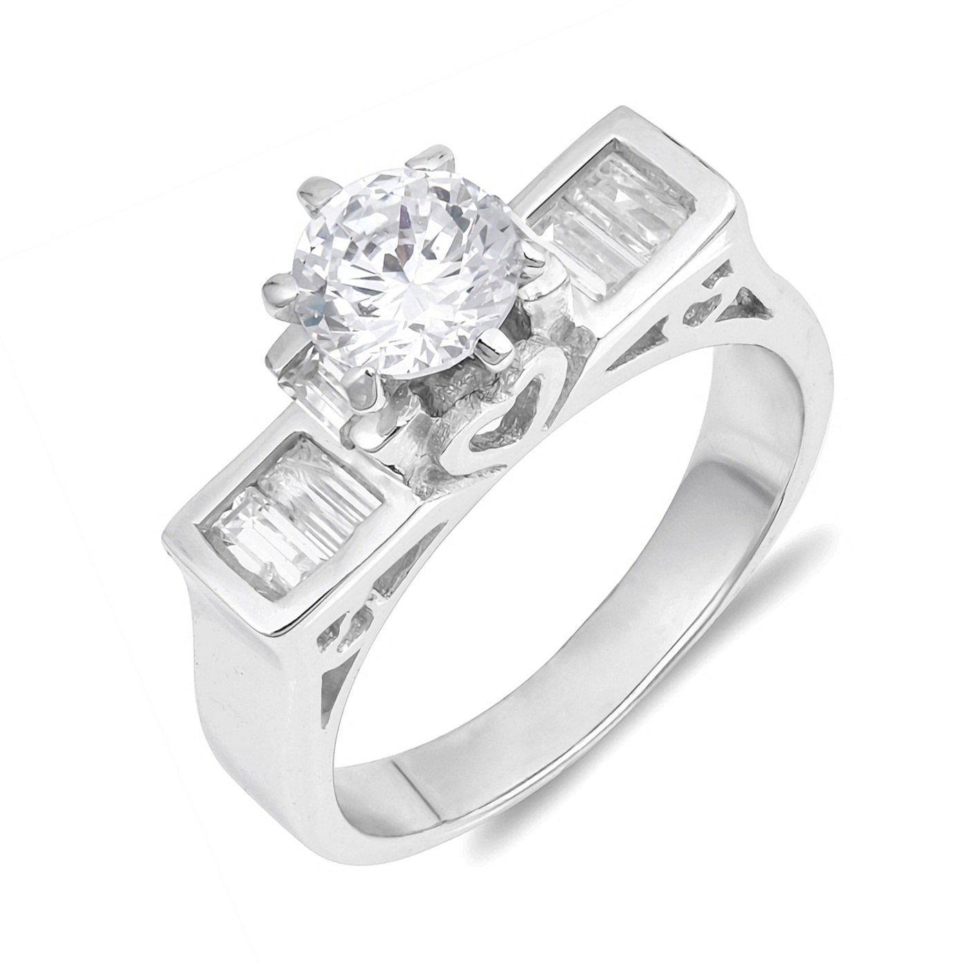 Round Cut Cubic Zirconia With Side CZ Womens Sterling Silver Ring Sizes 5-10